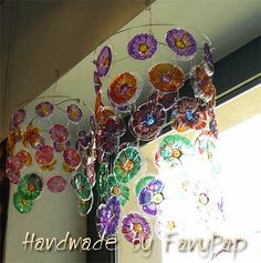 Reuse, Upcycle, Make A Lampshade, Fun Crafts, Arts And Crafts, Plastic Bottle Caps, Mean Green, Green Ideas, Bright Ideas