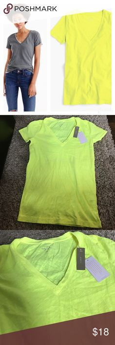 NWT Vintage Cotton J. Crew Retail Tee Neon Yellow Fun, bright v-neck tee! Soft and cozy! Brand new with tags, no defects! All of my items come from a clean, smoke-free home! Check my closet for more items and save when you bundle! Please let me know if you have any questions! J. Crew Tops Tees - Short Sleeve