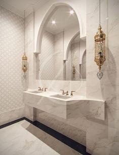 Family Villa Contemporary Arabic Interior Design - Riyadh, Saudi Arabia - Family Villa Contemporary Arabic Interior Design – Riyadh, Saudi Arabia Effortless elegance is - Moroccan Bathroom, Bathroom Red, Modern Bathroom, Bathroom Mirrors, Bathroom Ideas, Bathroom Cabinets, Bathroom Storage, Moroccan Tiles, Bathroom Flooring