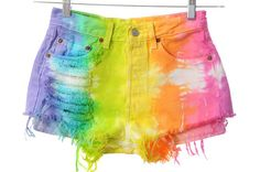 what to do with an old white denim shorts or jeans: tie dye them in colors or make rainbow shorts