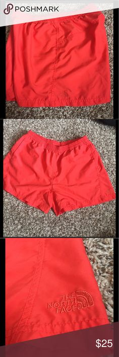 "The North Face Active Dry Shorts The North Face active dry shorts in deep coral. Super comfy, size large. Perfect for kayaking, hiking, as board shorts, or lounging. 100% polyester. These do not have a mesh liner and the inseam is about 4"". The North Face Shorts"
