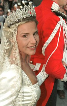 Eugenia on her brother's arm. The Alba diamond and pearl tiara was later worn by Eugenia, Cayetana's only daughter, and youngest child. Eugenia Martinez de Irujo, 12th Duchess of Montoro, married Francisco Rivera Ordonez on 23 October 1998
