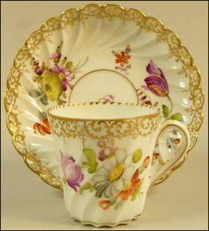 ANTIQUE DRESDEN HAND PAINTED FLORAL PORCELAIN CABINET CUP SAUCER C.1890