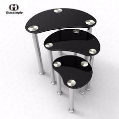 Black Glass Oval 3 Set Side End Coffee Table Chrome Base Living Room Furniture…