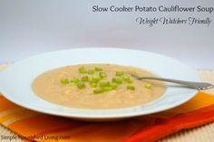 Slow Cooker Potato Cauliflower Soup | 6 Points Plus #weightwatchers #crockpot
