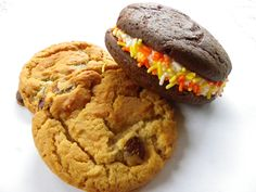 Chocolate Chip Cookies and Fall Themed Whoopie Pies. Super delicious gift for a college student during exam week! www.3ducklings.com www.facebook.com/3ducklings