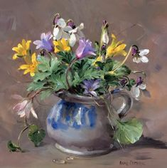 Celandines with Violets and Anemones, Painting by Anne Cotterill ~ Small Greetings Card Published by Mill House Fine Art . Wood Sorrel, Flower Artists, Still Life Flowers, Art Calendar, Still Life Art, Somerset, Beautiful Paintings, Spring Flowers, Flower Arrangements