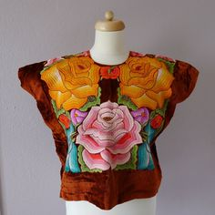 Collectors Mexican Embroidered Tehuana Rust by LivingTextiles, $250.00