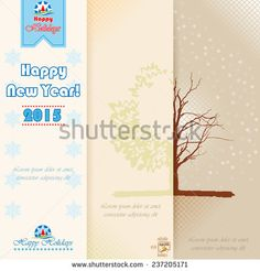 """New Year abstract background in triptych scene. """"Happy New Year"""" and """"Happy Holidays"""" text. - stock vector"""
