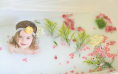 Flower and milk bath. Toddler photography. Chelsea Crisafulli Photography.