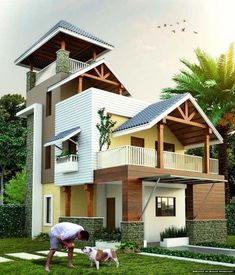 Advice For Making Better Decisions In Purchasing Real Estate. Photo by Buying real estate has been regarded as a wise investment throughout history. Building Elevation, House Elevation, Front Elevation, Indian House Plans, Kerala Houses, Natural Homes, Modern Buildings, Modern Houses, Home Design Plans