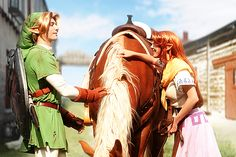 This is a cosplay... The Zelda Project: Link, Malon, and Epona