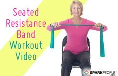 Video -Minute Seated Resistance Band Workout Via Sparkpeople & video-minuten-sitzwiderstand-band-training über sparkpeople & & Hiit band workouts - Cardio band workouts - band workouts Small Pilates, Fitness Video, Chair Exercises, Stretches, Stretching Exercises, Spark People, Fitness Routines, Resistance Band Exercises, Resistance Workout