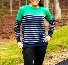 Stylist: I love this color combination! Love the stripes. Looks great. 41HAWTHORN Rowson Colorblock Striped Sweater - Stitch Fix