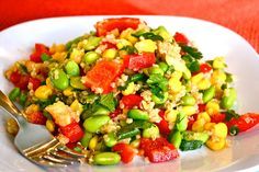 Edamame and Corn Quinoa Salad.  SO GOOD. There are so many awesome healthy recipes on this blog!