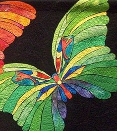 Close-up, Anastasia butterflies in Flights of Fancy quilt by Sheril Drummond