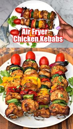 Easy, Air Fryer Grilled Chicken Kebabs or kabobs is a quick recipe that uses chicken breasts and fresh veggies to create a healthy meal served on BBQ skewers. This post will show you how to make tender and juicy grilled chicken in the air fryer. Air Fryer Oven Recipes, Air Frier Recipes, Air Fryer Dinner Recipes, Grilling Recipes, Healthy Dinner Recipes, Healthy Dinners, Healthy Food, Healthy Vegetables, Healthy Meals With Chicken