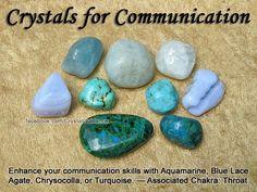 For communication (throat chakra) : aquamarine, blue lace agate, chrysocolla, turquoise Crystal Uses, Crystal Healing Stones, Crystal Magic, Crystal Grid, Stones And Crystals, Gem Stones, Minerals And Gemstones, Rocks And Minerals, Throat Chakra