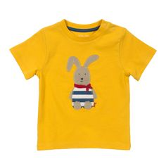 20a0bb26 Baby Boy Yellow T-shirt with Rabbit - Baby Boy Tops - Boys - Little