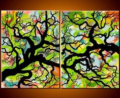 JMichael Original Art Large Abstract Fantasy Tree Painting Huge Two Canvas Fine Art Diptych 36x48 JMS. $249.00, via Etsy.