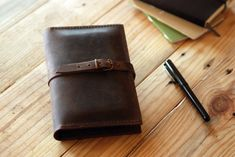 Small Moleskine leather cover. Dark brown leather cover journal. Field Notes cover. Travel gift. Travel journal. Travel accessories. MLSK009 via Etsy