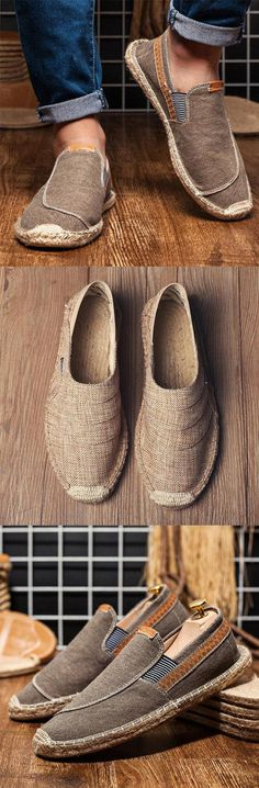 Canvas Elastic Band Flats Loafers – [pin_pinter_full_name] Hot Sale! Mens Fashion Wear, Big Men Fashion, Loafer Shoes, Loafers Men, Look Girl, Herren Outfit, Mens Clothing Styles, Leather Men, Casual Shoes
