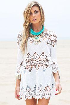 Bohemian Crochet Beach Tunic LC41507 women top dress summer casual new fashion #Dearlover #Sheath #SummerBeach