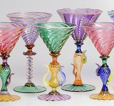 Tutti Frutti Martini Goblets: Robert Dane: Art Glass Goblets - Artful Home