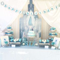 Frozen girl birthday party cake and dessert table! See more party planning ideas at CatchMyParty.com!