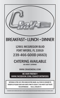 Regular Menu Page 1 Crave Restaurant, Fort Myers, Catering, Cravings, Menu, Lunch, Dinner, Cooking, Breakfast