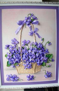 Купить Картина вышитая лентами Фиалки в корзинке. - фиолетовый, фиалки, корзина с цветами, подарок