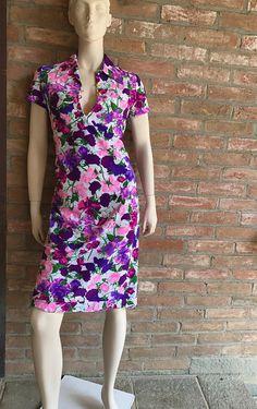 1970 Ken Scott vintage dress Size M vtg 10 colorfull print