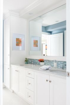 love the bath vanity, tile and framed mirror. can lights above, no vanity lights...