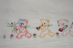 Embroidered Babys Crib Sheet Vintage 1970s with by MAISONDELINGE, $15.99