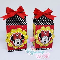 Caixa Milk Minnie Packing Boxes, Minnie Mouse, Party Favors, Holiday Decor, Birthday, Maria Alice, Party Ideas, Tin Cans, Party Kit