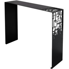 An elegant modern console table finished with black epoxy paint. Pair available