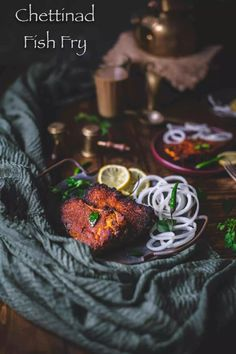 Chettinad Fish Fry Recipe a delicious & spicy fish preparation. Fresh Fish steaks are marinated in freshly ground Chettinad masala & fried to perfection! Salmon Curry, Spicy Salmon, Fried Salmon, Spicy Fish Recipe, Fried Fish Recipes, Coriander Seeds, Fennel Seeds, Gluten Free Chilli, Chilled Beer