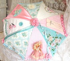 bright and girlie parasol by Jennifer Hayslip Fancy Umbrella, Under My Umbrella, Vintage Umbrella, Pretty Pastel, Pastel Pink, Pink Blue, Umbrellas Parasols, Recycling, Vintage Handkerchiefs