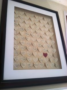 Unique Guest Book for Wedding - 3D hearts Shadow box frame.