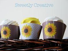 Sunflower Cupcake Wrappers by sweetlycreative.com #sunflower