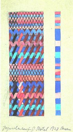 Design for a Jacquard woven textile  1927 18 x 6 and 18 x 1 cm The J.Paul Getty Museum Malibu, Ca