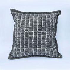 Dark Grey Cushion: Handprinted with original design image 0