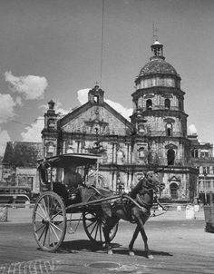 Man driving a horse and carriage in front of Binondo Cathedral. Location: Manila, Philippines Date taken: May 1948 Photographer: Jack Birns Philippines Culture, Manila Philippines, Philippine Architecture, Philippine Holidays, Spanish Culture, How To Speak Spanish, Historical Pictures, Pinoy, Old Photos