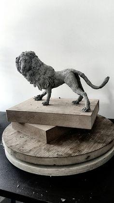 The Nemean lion is ready for a battle with Hercules by Themis P. Kirimi #art #sculptures #lion #hercules #themisart #themis #battle