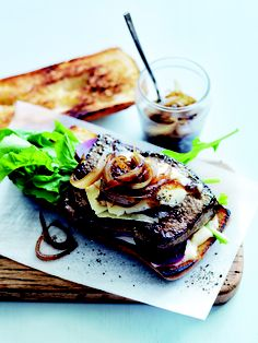 Mustard steak sandwich with caramelised cider onions - Perfect for cooking on an ILVE Teppanyaki plate!