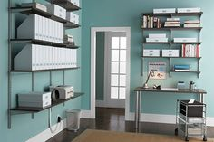 home office shelving: different types of shelves and how you can integrate them into your office Elfa Shelving, Office Shelving, Home Office Storage, Office Organization, Organizing, Organized Office, Office Wall Colors, Office Walls, Desk Office
