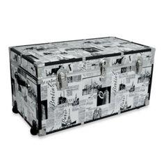 For my gym stuff. Storage Trunk with Wheels in Passport Print - BedBathandBeyond.com