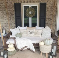 When it comes to fall porch decorating ideas, there are a variety of ways to welcome your guests with seasonal vibes, from pumpkins to mums and pretty fall wreaths. Porch Bed, Porch Swing, Front Porch, Brick Steps, Porch Decorating, Decorating Ideas, Pillow Design, Room Inspiration, Farmhouse Decor