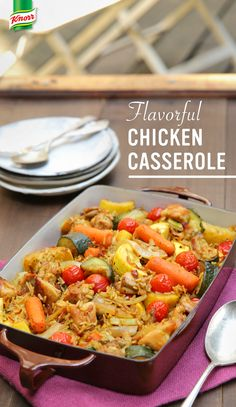 The best recipe for Chicken Casserole is easy, delicious, and sure to please your whole family. Preheat oven to 400°. Heat oil in deep, large skillet over medium- high heat and brown chicken. Add onion and garlic and cook, stirring until tender, about 4 minutes. Add carrots, zucchini, and green onion and cook for 5 minutes. Combine boiling water with Knorr® Rice Sides™ - Chicken flavor in a baking dish. Mix vegetables and poultry. Cover with aluminum foil. Bake 30 minutes. Serve. Enjoy!