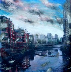Tim Garner View from Quay Street - Manchester Dream Vacations, Manchester, Past, River, Architecture, Street, City, Gallery, Mixed Media